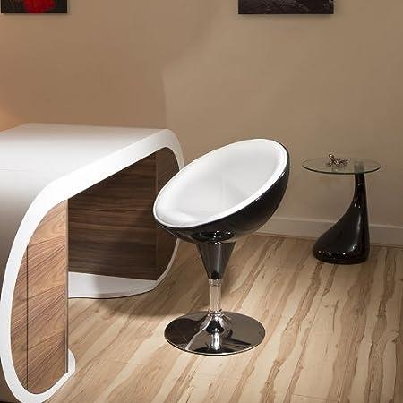 Pantalla negra brillante/Marfil para huevos/silla de comedor Pod/asiento base giratoria