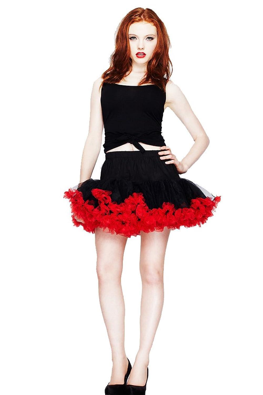 Hell Bunny SHORT TUTU Petticoat Unterrock – Schw/Rot Rockabilly kaufen