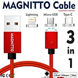 Type-C,Magnetic Charger Cable MAGNITTO USB to Lightning+USB C+Micro 3 in 1 Multiple 2.4A Quick USB Charging Cable for Android & iPhone X 8 7 6 6s 5s plus iPad Samsung Galaxy S6 S7 S8 plus Lg G5 G6 RED