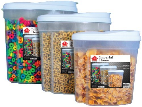Imperial MW1196 Plastic 3 Piece Cereal Dispenser Set Dry Food