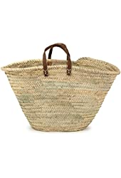"Moroccan Straw Market Bag w/ Blue Leather Strip Handles, 25""Lx15""H - Ibiza"
