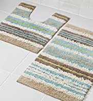 Tonal Stripe Bath & Pedestal Mats