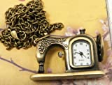 "Sewing Machine Pendant Pocket Watch With 15"" Chain In Antique Gold Finish"