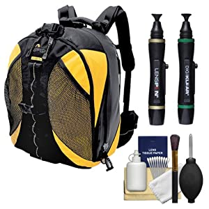 Lowepro DryZone 200 Waterproof Digital SLR Camera Backpack Case (Black/Yellow) + Accessory Kit for Canon EOS 70D, 6D, 5D Mark III, Rebel T3, T5i, SL1, Nikon D3200, D5200, D5300, D7100, D600, D800, Sony Alpha A65, A77, A99