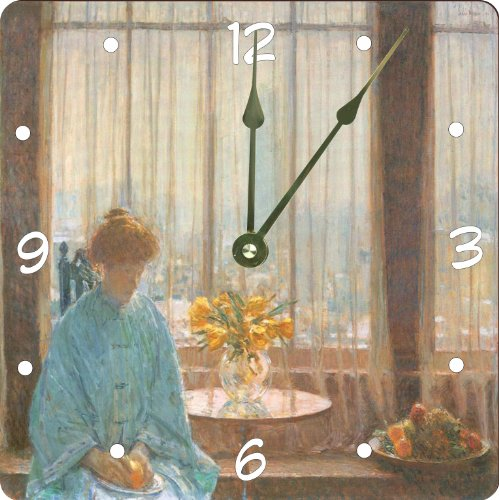 "Rikki Knighttm Childe Hassam Art The Breakfast Room On A Winter Morning Design 13"" Art Wall Clock front-603779"