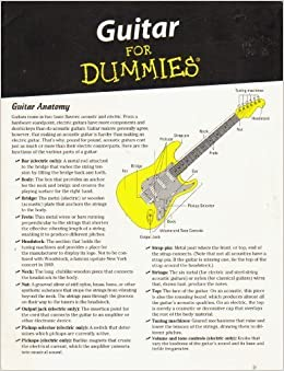 guitar for dummies cheat sheet foldout guitar anatomy chords scales tab and reading music. Black Bedroom Furniture Sets. Home Design Ideas