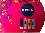 Nivea All About Luscious Lips Tin (Nivea Essential Care Lip + Nivea Pure & Natural Milk & Honey Lip + Nivea Pearly Shine Lip SPF10 + Nivea Soothe & Protect Lip SPF15)