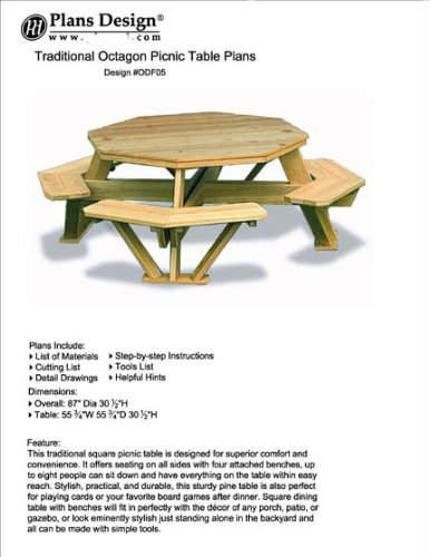 Traditional Octagon Picnic Table Plans / Pattern (How to build a outdoor furniture table, design # ODF05)