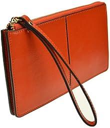Heshe Women Leather Zipper Around Clutch Long Wallet Evening Purse Case Handbag with Wrist Strap(orange)