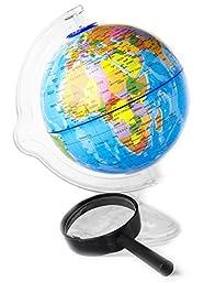 Kids Globe (Piggy Bank) with Magnifying Glass - Cute World Globe Children\'s Toy, 4.2\