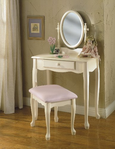 Powell Cream and Pink Vanity Mirror and Bench Set