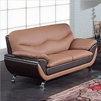 Global Furniture Leather Matching Loveseat, Tan/Brown/Chrome Legs