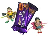 Nobita & Shizuka Action Figure Key Chain/Toy Rakhi For Kids With Sweets/Chocolate