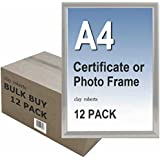 Box of 12 A4 Plain Silver Photo Picture Certificate Frame Wall & Desk Mountable