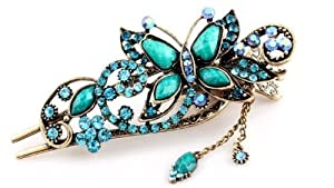 Free shipping-Oyang Green Vintage Jewelry Crystal Butterfly Hairpins Hair stick - for hair Beauty Tools-Oyang