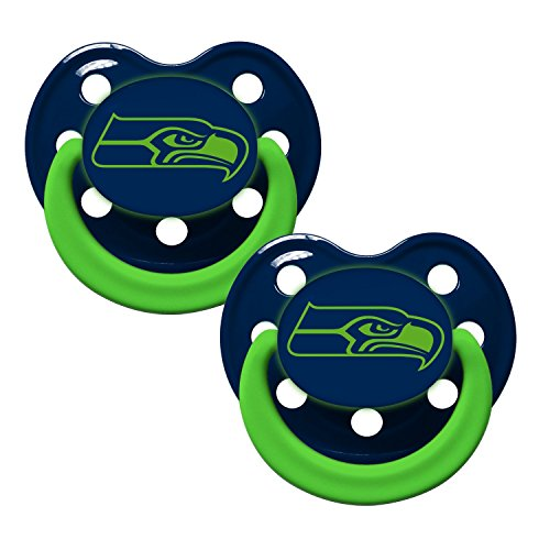 Seattle Seahawks Glow in Dark 2-Pack Baby Pacifier Set - 2014 NFL Infant Pacifiers