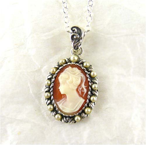 Pearl Halo and Coral Cameo Necklace