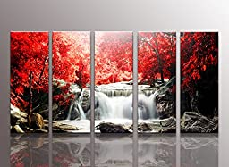 youkuart kx9906f Red waterfall Canvas Print for Abstract Painting Modern Canvas Wall Art for Home Decor the Cloud Tree Canvas Print for Abstract Painting Modern Canvas Wall Art for Home Decor