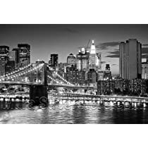 Brooklyn Bridge Panoramic Peel & Stick Wall Mural (Black & White) 72 Inches Wide X 42 Inches High