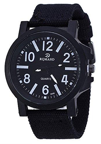 (ガン フリーク) GUN FREAK ミリタリー ウォッチ 腕時計 帆布 ベルト 文字盤 大きめ アナログ サバゲー ( ブラック )