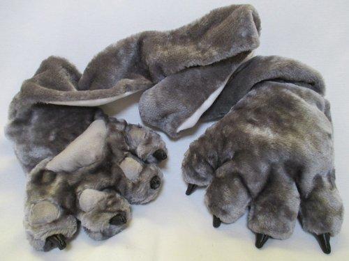 肉球 & ツメ 付き 大きな猫の手 マフラー 手袋 グレー ファー アニマル