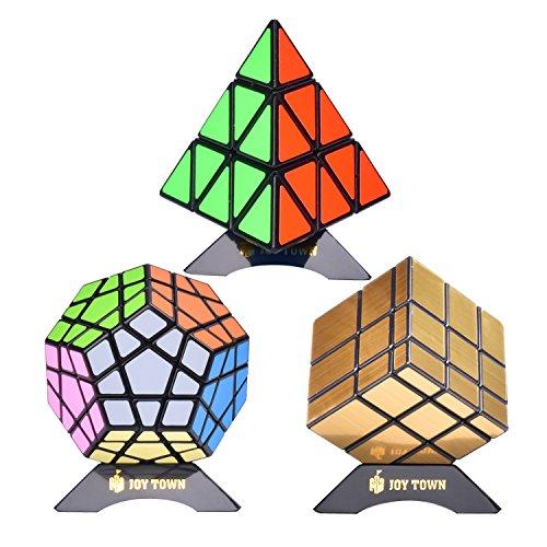Bundle Pack Speed Cube Set of 3 Pyraminx Pyramid Speedcubing, Megaminx Magic Cube, Gold Mirror Cube Magic Twisty Puzzle, With Bonus Three Stands and Screwdriver Black