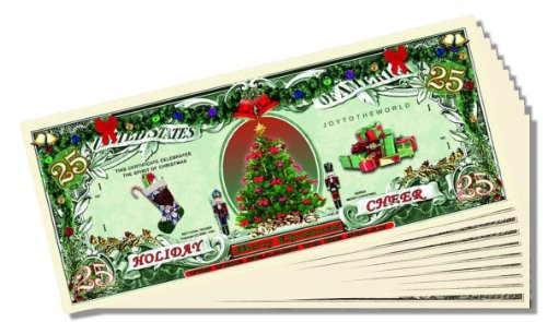 Holiday Cheer 25 Christmas Dollars - 10 Count with Bonus Clear Protector & Christopher Columbus Bill