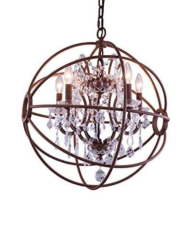 Urban Lights Geneva 4-Light Pendant Lamp, Rustic Intent/Royal Cut Crystal