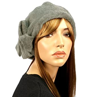 Super Soft Angora Ribbon Bow Warm Knit Winter Beret Tam Beanie Hat Cap Gray