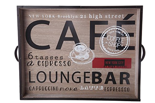 Wooden Food Tray - Large Modern Food Serving Carrying Tray with Handles Cafe Lounge Bar Design - 17.5