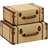 Deco 79 Wood Burlap Suitcase, 17 by 15-Inch, Set of 2