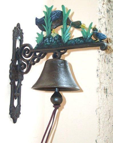 Gravité cloche de porte en fonte figurine famille de canards, canards, style maison de campagne, sonnette