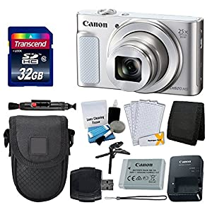 Canon PowerShot SX620 HS Digital Camera (Silver) + Transcend 32GB Memory Card + Point & Shoot Camera Case + Card Reader + Memory Card Wallet + LCD Screen Protectors + Cleaning Kit + Complete Bundle