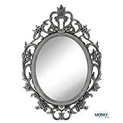 MONOINSIDE 15 Framed Oval Wall Mount Mirror, Antique Vintage & Classic Design, Floral Designer Plastic Frame, Ornate Gray Finish
