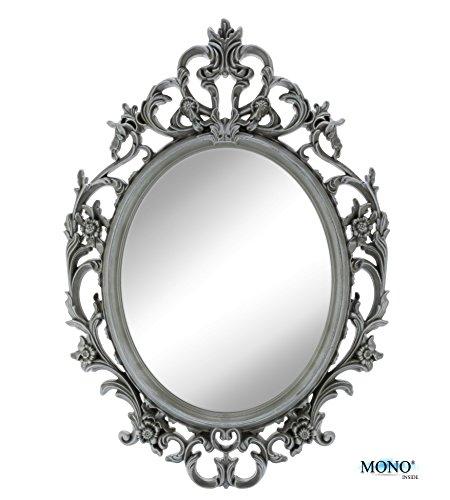 """MONOINSIDE 15"""" Framed Oval Wall Mount Mirror, Antique Vintage & Classic Design, Floral Designer Plastic Frame, Ornate Gray Finish"""