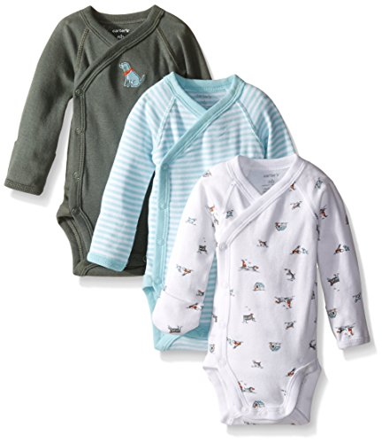 Carter's Baby Boys' 3 Pack Side Snap Bodysuits (Baby) - Olive - 9M