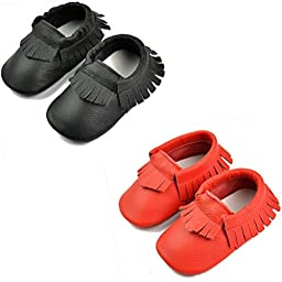DADAWEN Baby Moccasins Genuine Leather Slip On Shoes Black and Red L (12-18 Month)