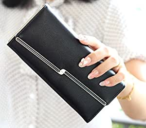 Premium Elegant - Womens Women's Wallet Clutch Hand Purse for Women's Girls Ladies long Trifold Wallet-Black