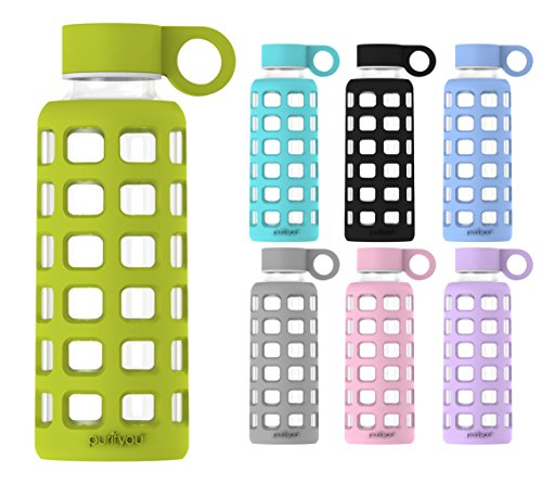 purifyou Premium Glass Water Bottle with Silicone Sleeve & Stainless Steel Lid Insert, 12 / 22 / 32 oz (Pastel Green, 12 oz)