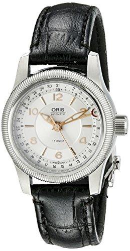 Oris para mujer Big puntero 584 7626 4061LS de corona plateado Guilloche reloj de aguja