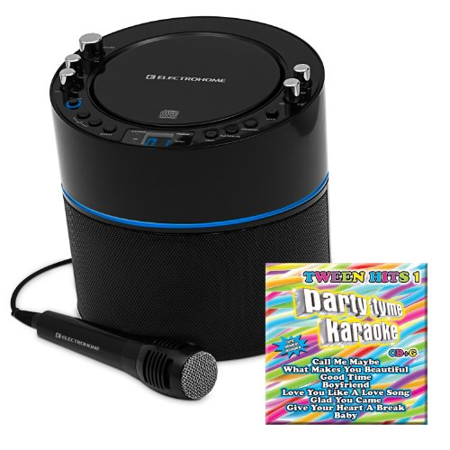 Electrohome Eakar300 Karaoke Cd+G Player Speaker System With Mp3 And 2 Microphone Inputs & Ptkth1 Party Tyme Karaoke: Tween Hits Volume 1 Cd+G (8+8 Songs)