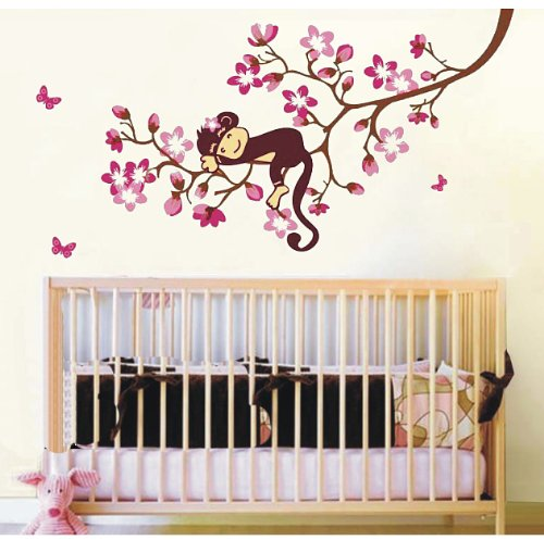 A Sleeping Baby Monkey On Cherry Blossom Tree Branch Nursery Wall Decor Baby Girl'S Bedroom Wall Decal Kid'S Room Sticker Removable Pink Baby Monkey Decal front-116903