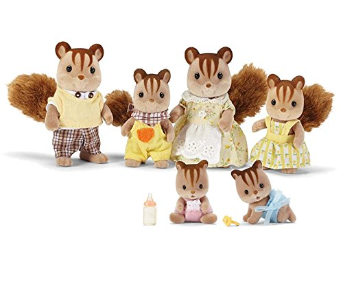 Calico Critters Hazelnut Chipmunk Family with Additional Two Babies