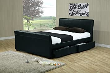 "4ft 6"" BLACK LEATHER STORAGE DRAWERS DOUBLE BED FRAME RRP £699"