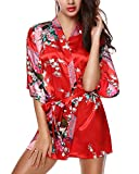 Avidlove Womens Kimono Robes Peacock and Blossoms Silk Nightwear Short Style, Red , M , US 6