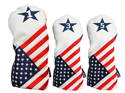 USA 1 3 5 Headcover Patriot Golf Vintage Retro U.S.A Leather Style Patriotic Driver Fairway Wood Head Cover