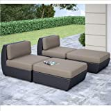 CorLiving PPS-606-Z Seattle Curved 4-Piece Lounger Patio Set