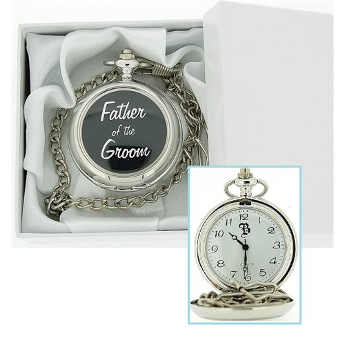 Boxx Silver Tone Father Of The Groom White Dial Pocket Watch & Chain BOXX232