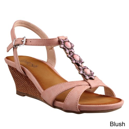 Refresh Ginny-16 Women'S Beaded Ankle Strap T-Strap Low Cork Wedge Sandals, Color:Blush, Size:10 front-564966