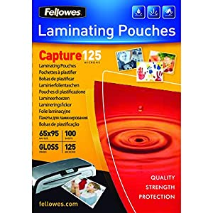 Fellowes Capture 65x95mm 125 Micron Glossy Laminating Pouches (Pack of 100)